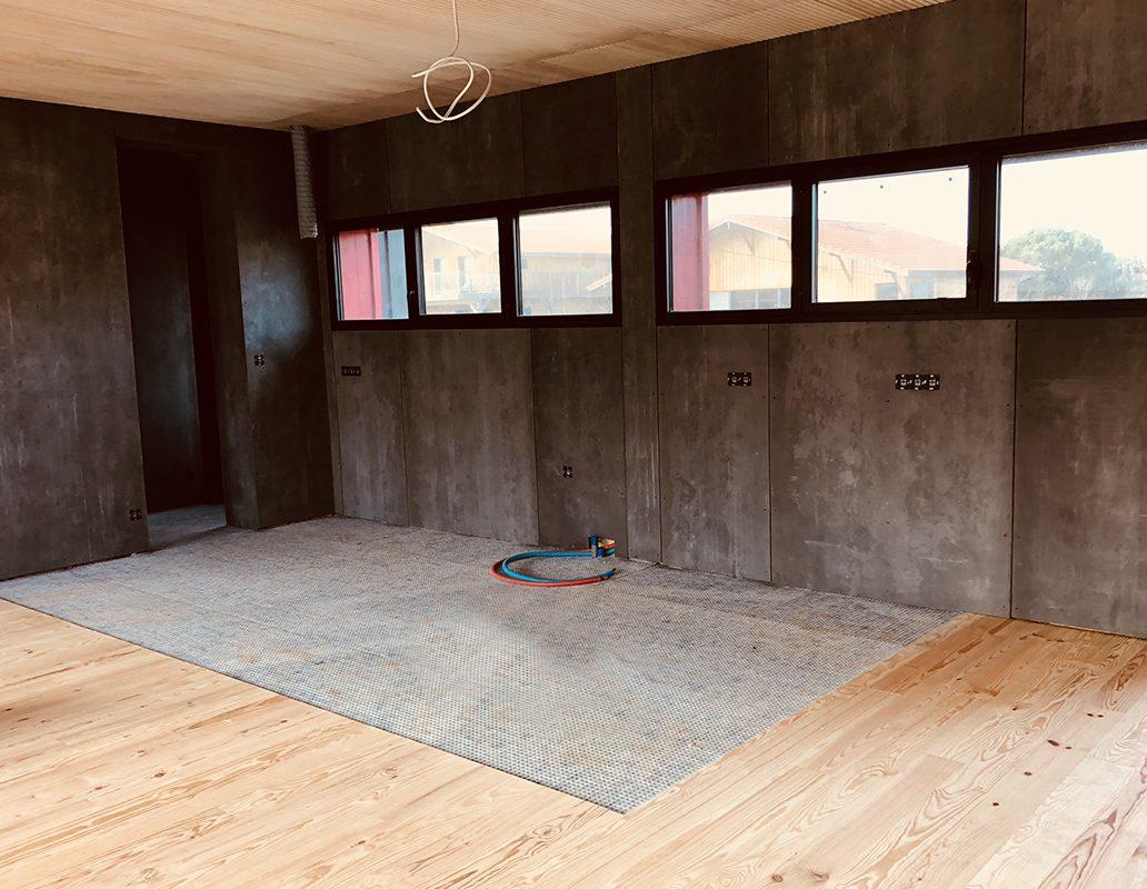 intérieur maison bois contemporaine arcachon