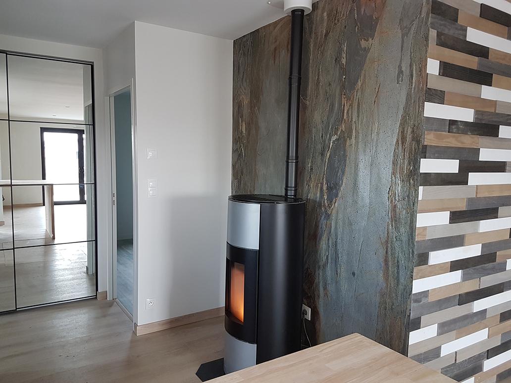 intérieur maison bois contemporaine