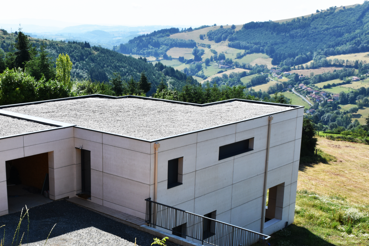 panoramic view design wooden house in the heart of the French mountain