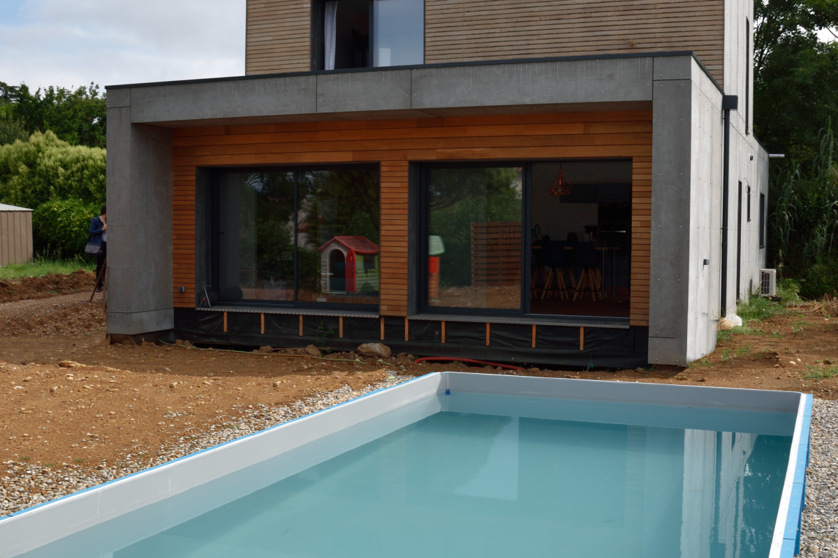 pool in a design wooden house