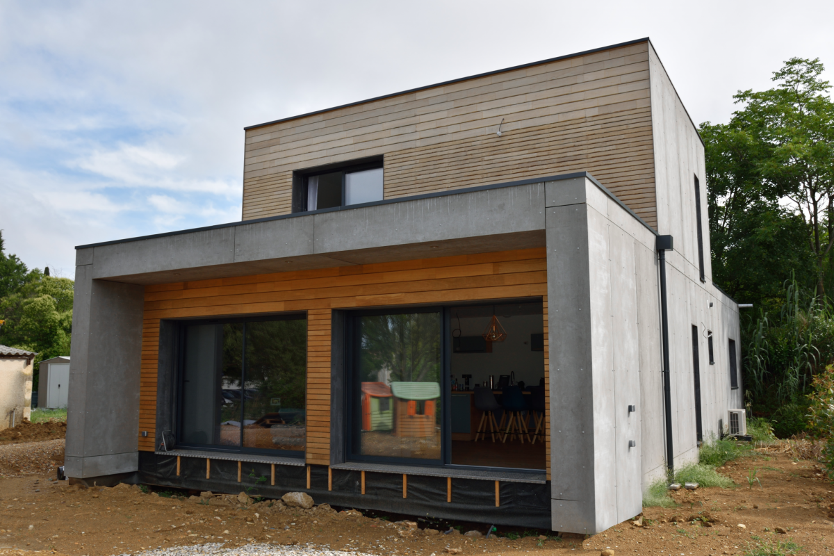 facade of design wooden house in Occitanie