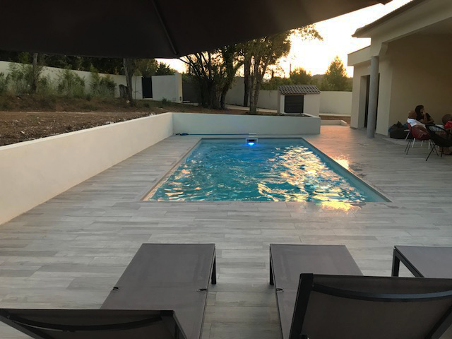 swimming pool woden design house with Roman style in Corsica
