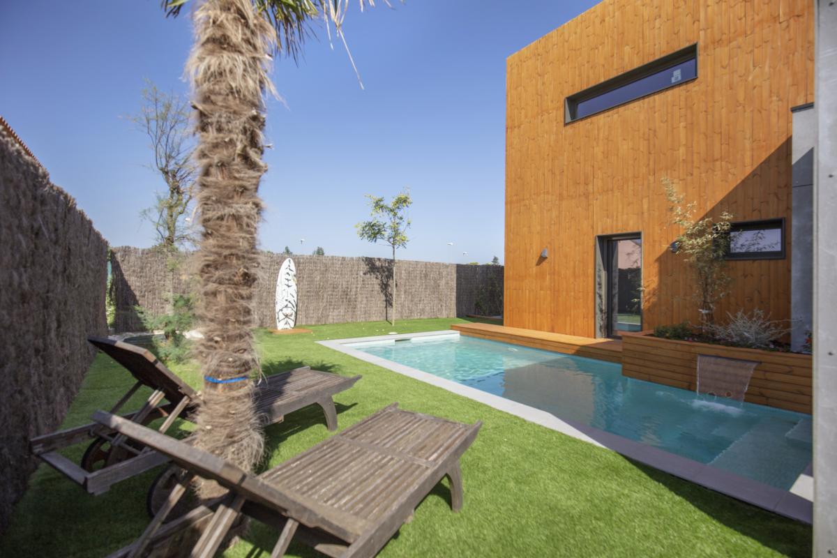 jardin maison passive moderne en bois espagne